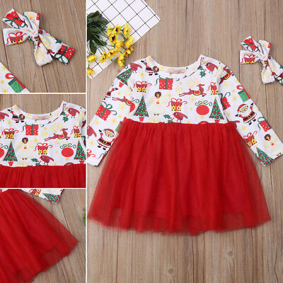Toddler Kids Baby Girl Clothes XMAS Santa Claus Party Tulle Tutu Dress Outfits