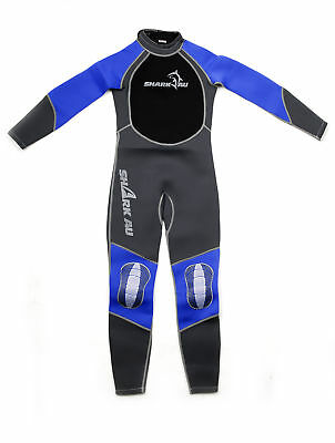 Kids SHARKAU Fullbody Wetsuit 3MM In Grey/Blue SZ 6--14
