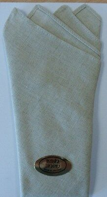 An Irish Linen Pocket Square- Point Fold - Oatmeal *reduced Price*