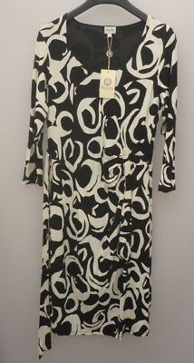 Women's Black & Ivory Midi Viyella Self-Tie Dress Sleeves Lined - Size 10