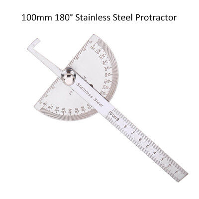 """4"""" 180° Stainless Steel Protractor Goniometer Angle Finder Miter Round Gauge New"""
