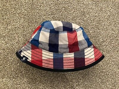 Joules Check Blue Denim Baby Sunhat 0-6 Months Reversible - New Without Tags