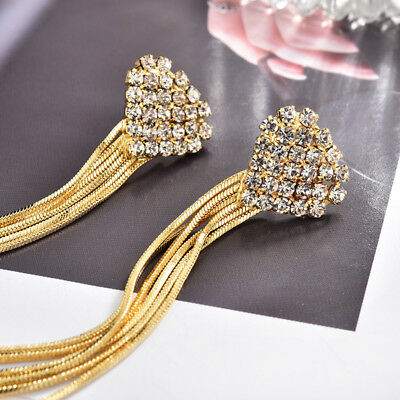 Lady18k Gold Filled Flower Tassel Ear Stud Bohemia Crystal Earrings Jewelry