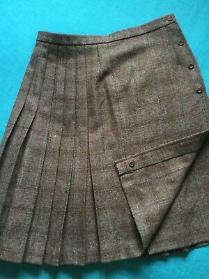 EASTEX women quality brown thick tweed wool midi wrap skirt  UK 12 14