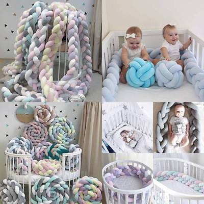 Baby Infant Plush Crib Bed Bumper Bedding Cot Braid Pillow Pad Safety Protector