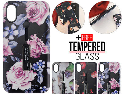 For iPhone 6 6S 8 7 Plus XS MAX XR Shockproof Flower Finger Holder Case Cover