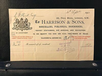 1910 London Receipt - Harrison & Sons - Booksellers - Pall Mall - ref187