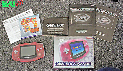 Boxed Game Boy Advance Original Console Pink Gameboy Gba Handheld System Rare