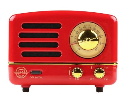 Red metal vintage-style mini Bluetooth® speaker/FM radio w/case- Music anywhere!