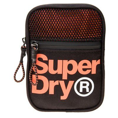 Neu HERREN SUPERDRY SCHWARZ LINEMAN SPORT POUCH POLYESTER CROSS BODY BAG