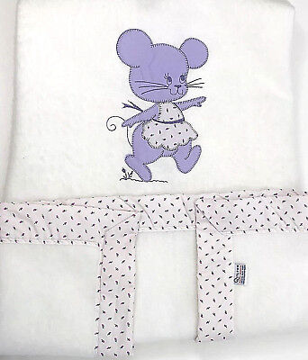 Vtg Quiltex Baby Blanket White Acrylic Crib Purple Mouse Pink Rose Trim 49 x 37