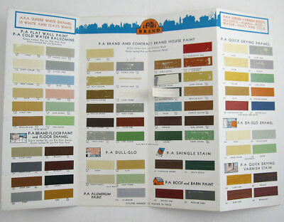 Vintage 1930s 40s House floor barn paint color chart chips PA Brand brochure