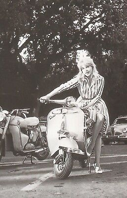 Printed postcard of famous film stars on Vespa Scooters  Lilane Brousse  vgc