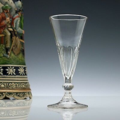 Antique 18th Century Georgian Petal Moulded Ale Glass c1780