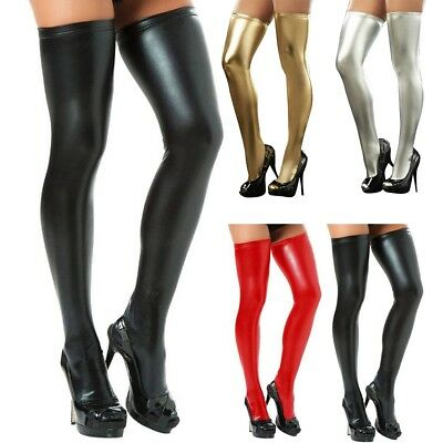 Fashion Women PU Leather Legging Socks Stockings Solid Color Hosiery Thigh-Highs