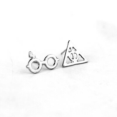 1Pair Alloy Harry Potter Earrings Stud Scar Glasses Deathly Hallows Ear Jewelry