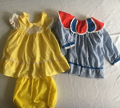 Lot Of 2 Vintage 2t Toddler Dresses Yellow, Red White Blue Jcpenny Youngland
