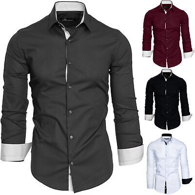 Herren Slim Fit Hemd Bügelleicht Business Freizeit Shirt 50001