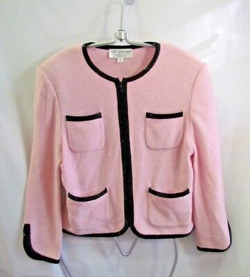 St. John's  Collection By Marie Gray Blush/Black Trim Jacket Size 10