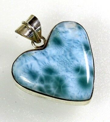 49 cts Natural Sky Blue heart Larimar 925 sterling Silver pendant 27*24*7mm
