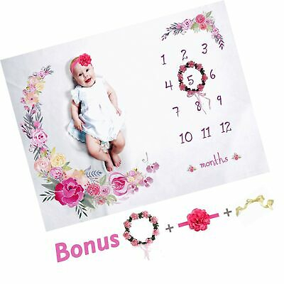 "Baby Monthly Milestone Blanket Large 60""x40"" 