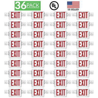 Sunco 36 pack EMERGENCY EXIT SIGN Single/Double Face LED w/ 2 Head Lights UL