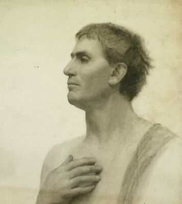 MILDRED MAI LEDGER charcoal LARGE Victorian 19th C drawing Roman orator. Gay int