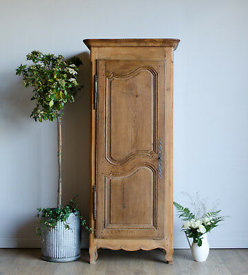 French Antique 19C Light Oak Bonnetière Slngle Wardrobe Armoire Cupboard Cabinet