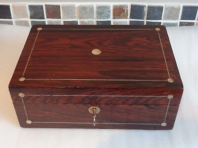 Antique Rosewood Box Mother Of Pearl Lock And Key C1860