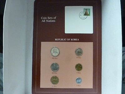 Coin Sets of All Nations Korea UNC 1,5,10,50 Won 1983-100 Won 1982-500 Won 1984