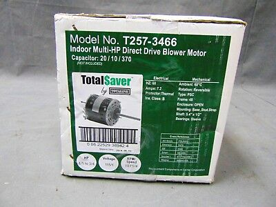 Totaline TotalSaver Direct Drive Blower Motor, 1/5 to 3/4 hp, 115 VAC T257-3466