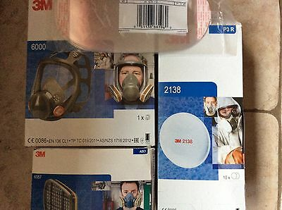 GENUINE 3M 6900 LARGE FULL FACE MASK  6 X 3M  2138 filters  6 X LENS NEW