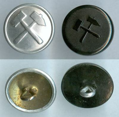 Knopf Bergbau DDR / BRD Uniform button bottone 19mm Alu. / Kunststoff