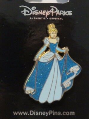 Disney Wdw Dlr Princess Cinderella Glitter Dress Blue Gown Pin