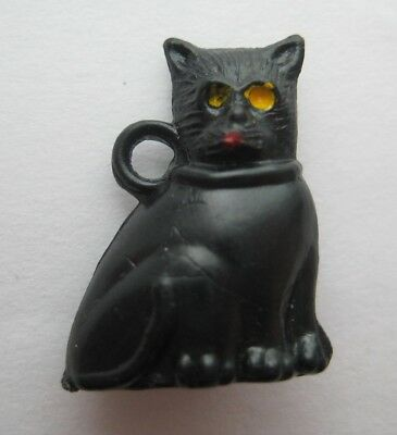 VINTAGE Plastic Lucky BLACK CAT Gumball Charm Prize For Good Luck