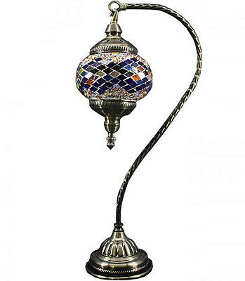Handmade Stained Glass Mosaic Bead Electric Table Lamp Light Turkish Moroccan 2