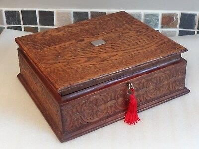 Victorian 19thC Solid Oak Box With Hand Carved Detail - Good Working Lock & Key