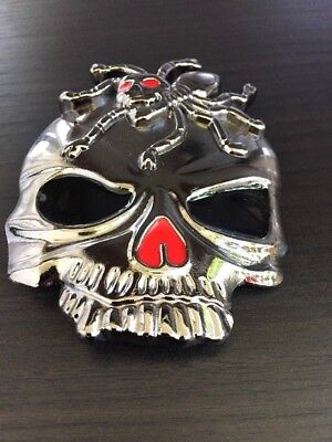 Belt BUCKLE Skull Spider ABALONE SILVER MEN WOMEN VINTAGE HIGH QUALITY