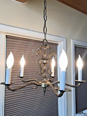 Antique Victorian Ornate Brass 5 Arms Chandelier Light Fixture Spain Solid