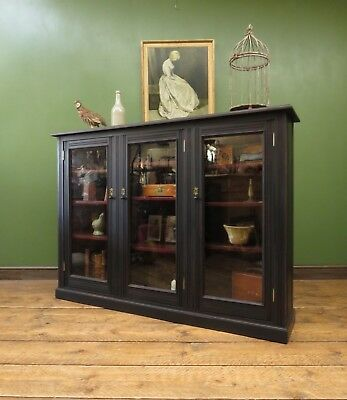 Antique Black Book Cabinet, Large Painted Bookcase with Glazed Doors, Gothic