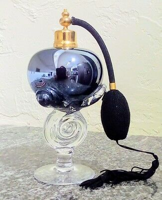 """Contemporary Hand Blown Art Glass Perfume Atomizer  1980s Approximately 8"""" Tall"""