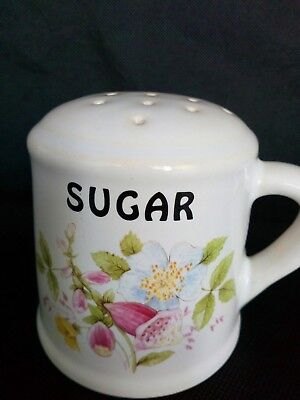 Brixham Pottery Pink Digitalis Flower Sugar Dredger Shaker Made in Devon England
