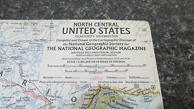Original November 1958 National Geographic Society N. CENTRAL UNITED STATES map