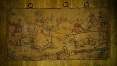 Antique tapestry fox hunters with maidens & dogs hunt scene early 1900s