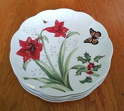 4 Lenox Butterfly Meadow Holiday Monarch Amaryllis Dinner Plates Christmas New