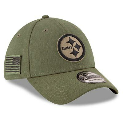 PITTSBURGH STEELERS New Era 2018 Salute To Service OnField 39/30 Flex Hat-Olive