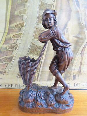 Antique  Black Forest Carving Spill Holder Wood Collector Circa 1880