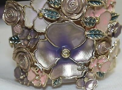 0f3981c295fe28 $3200 NEW Chanel Nude Pale Pink CUFF BRACELET 3 D Flowers Rose Purple Gold