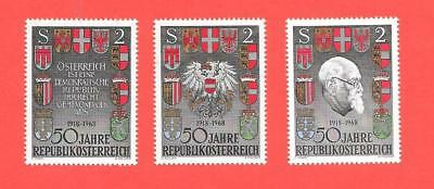 "1968 AUSTRIA { 50th ANNIVERSARY OF REPUBLIC } "" SET OF 3 "" MINT UN HINGED"