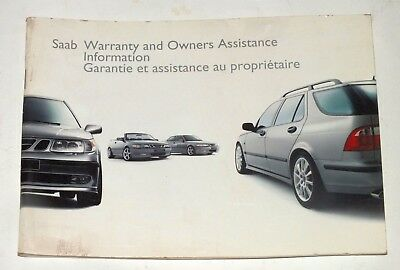 SAAB Warranty Owners Assistance Information 2002 Original Booklet English French
